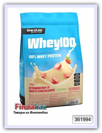 Протеин Whey100 SportLife Nutrition белый шоколад+клубника 700 г